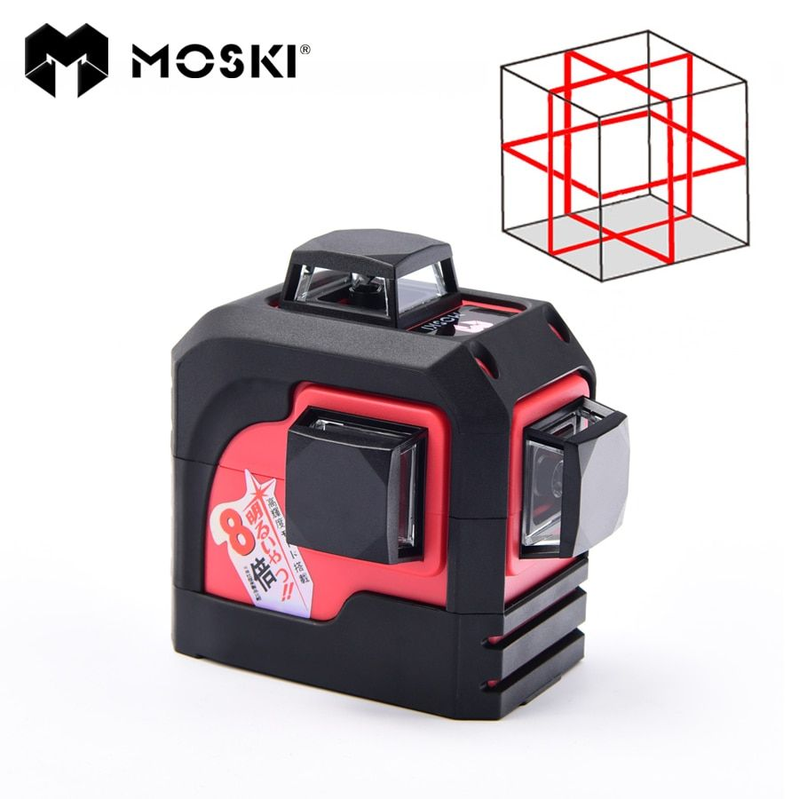 MOSKI ,MW-93T 3D 12Lines laser level,Red Laser level options,Self-Leveling 360 Horizontal,Vertical Cross Super Powerful