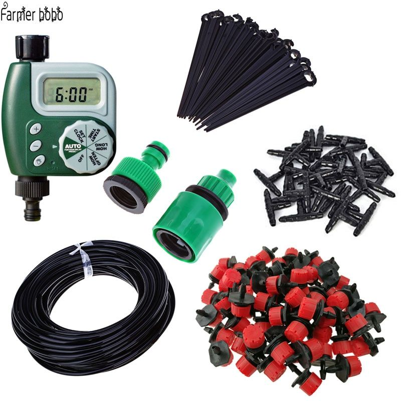 25m <font><b>Garden</b></font> DIY Micro Drip Irrigation System Plant Self Automatic Watering Timer <font><b>Garden</b></font> Hose Kits with Adjustable Dripper