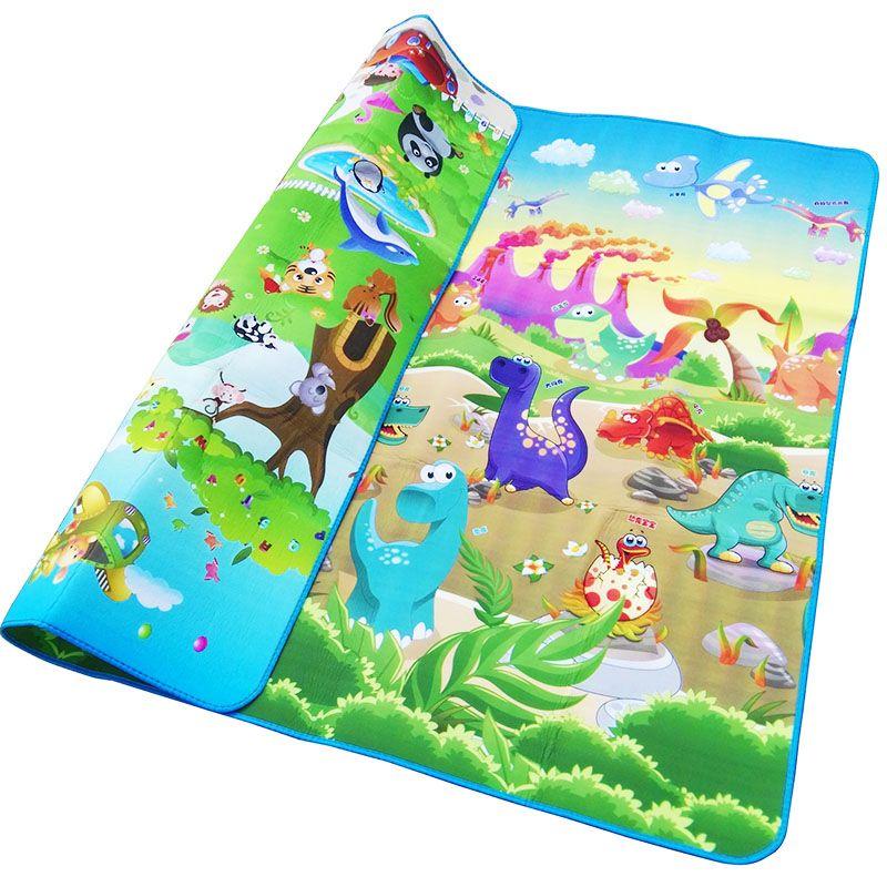 Baby Play Mat 200*180*0.5cm Crawling Mat Double Surface Baby Carpet Rug Animal Car+Dinosaur Developing Mat for Children Game Pad