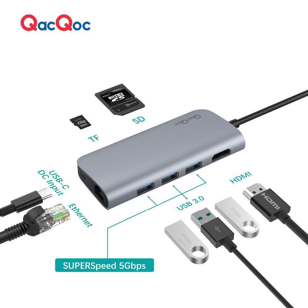 QacQoc GN30E En alliage D'aluminium USB C Hub avec 3 USB 3.0 Ports 4 K Sortie Lecteur de Carte LAN Port Type-C De Charge port pour Macbook 12