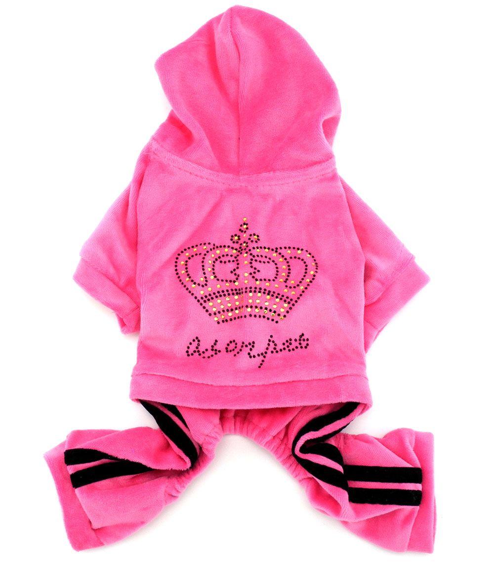 Small Dog <font><b>Crown</b></font> Soft Velvet Winter Jumpsuit Coat Hooide Pajamas Sport Pet Tracksuit