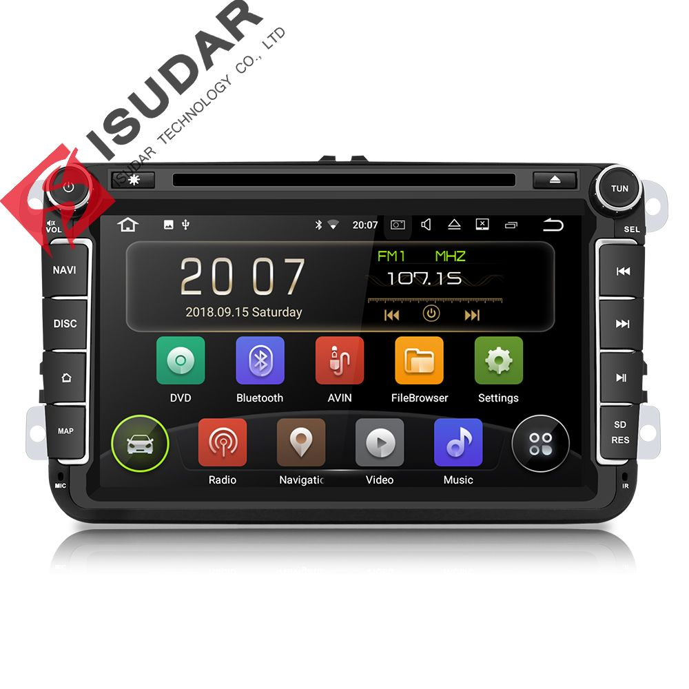 Isudar 2 Din Auto Radio Android 9 Für VW/Golf/Tiguan/Skoda/Fabia/Schnelle/Sitz /Leon Auto Multimedia Video Player GPS Navigation DVR