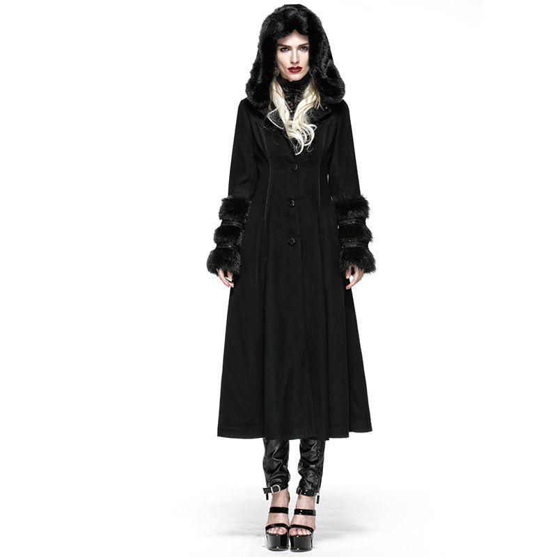 Gothic Lolita Style Two-wear Woolen Imitation Fur Coats Steampunk Autumn Winter Women Long Dress Coats Wool Jackets with Hat