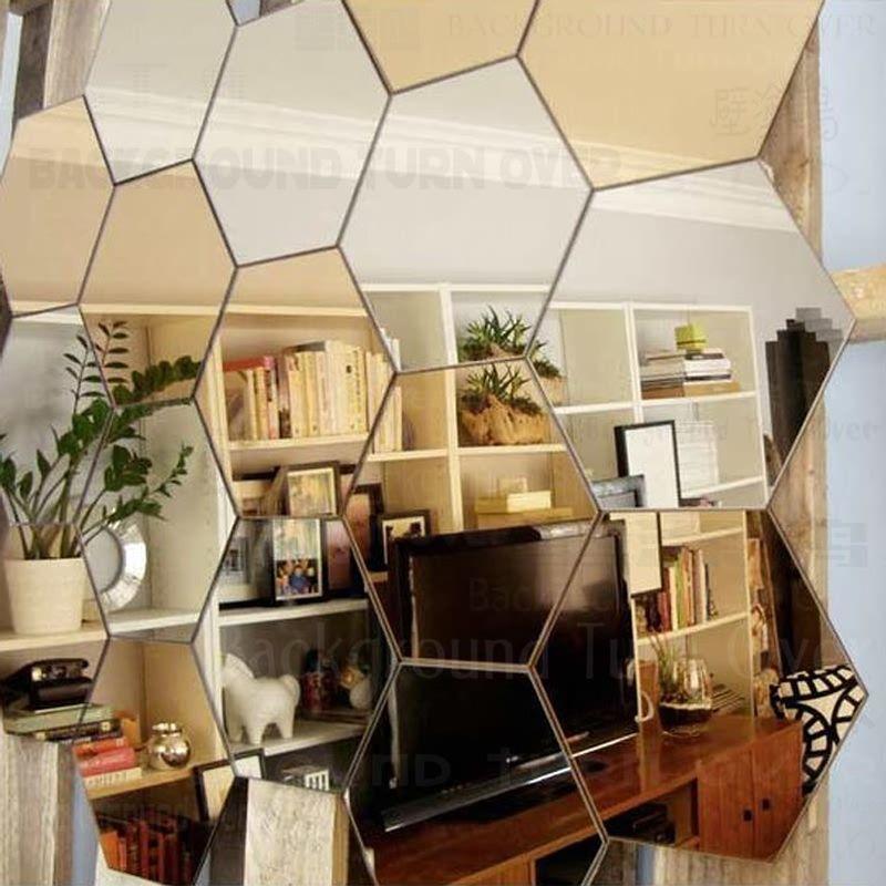 Régulier hexagone nid d'abeille décoratif 3D acrylique miroir Stickers muraux salon chambre affiche décor à la maison chambre décoration R229