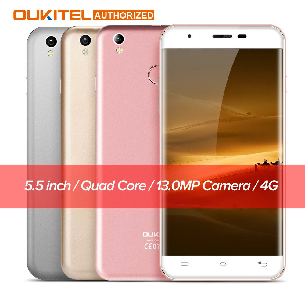 Oukitel U7 Plus Android 6.0 5.5 '' 4G Smartphone MTK6737m Quad Core 1.3GHz 2GB RAM 16GB ROM Fingerprint Scanner Mobile Cellphone