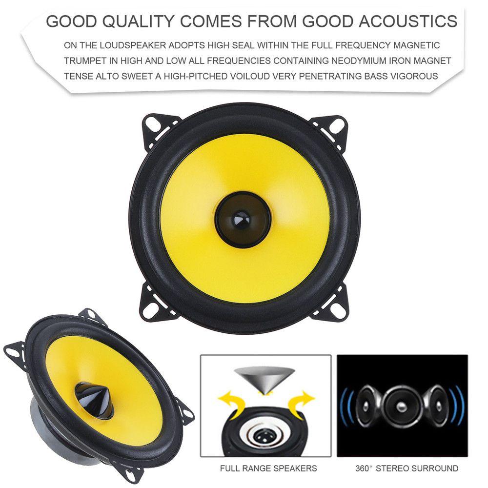 2pcs 4 inch 80W 88dB 2-Way Full Range Frequency Car Audio Stereo Coaxial Speaker Car Speaker Automobile Loudspeaker
