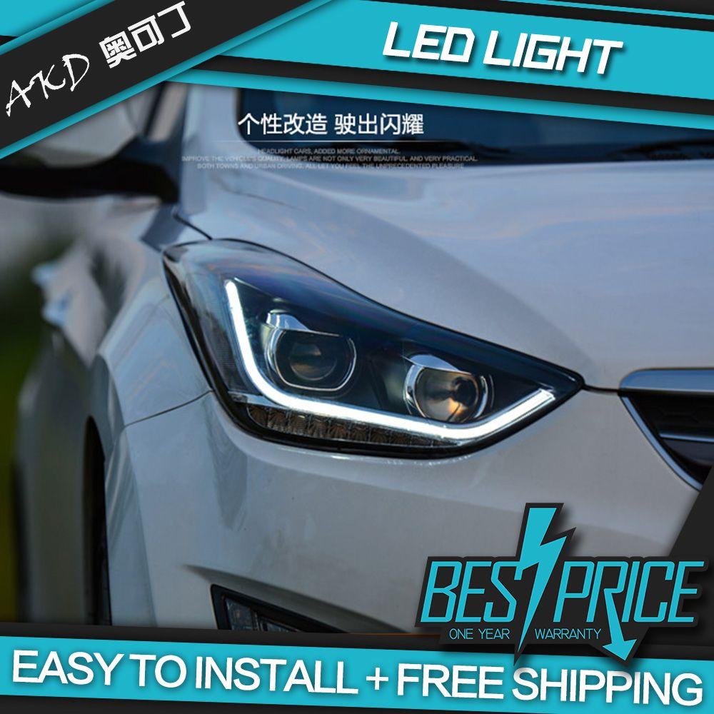 AKD Autos Styling Scheinwerfer Für Hyundai Elantra 2012-2016 Scheinwerfer Led-tagfahrlicht Bi-Xenon Strahl Nebel lichter engel augen Auto