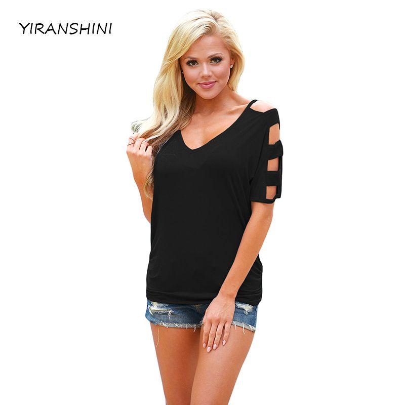 YIRANSHINI Summer Casual Black Short Sleeve O-Neck Soild Womens Casual T-shirt Hollow Out Lady Tops LC250067