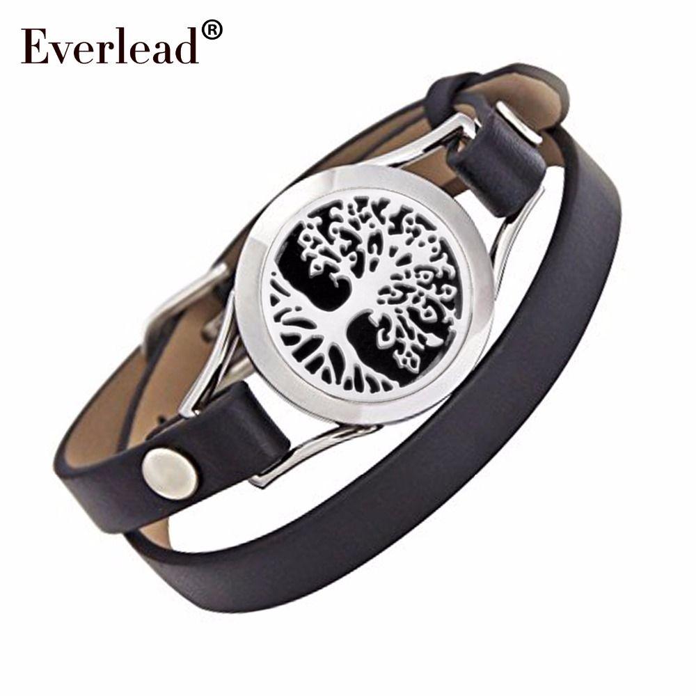 Everlead nouveau Design Bracelets arbre de vie en cuir véritable diffuseur d'huile essentielle aromathérapie médaillon Bracelets pour femme