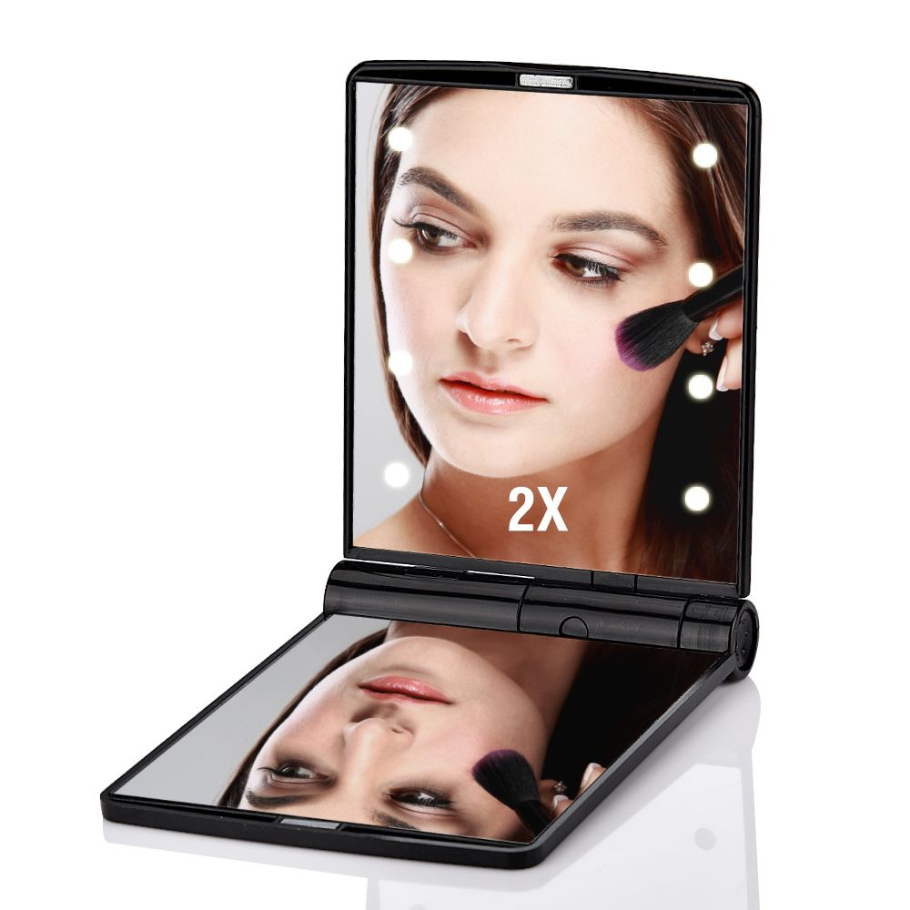 8 Lights 1X/2X Magnifier LED Screen Easy Makeup Mirror 2 Folding Adjustable Portable Compact Pocket Nice Gift Cosmetic Tool