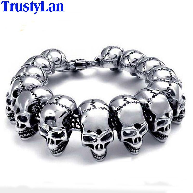 TrustyLan Punk Rock Skull Bracelet Men Stainless Steel Skeleton Best Friend Men's Bracelets & Bangles Male Jewelry Armband Gifts