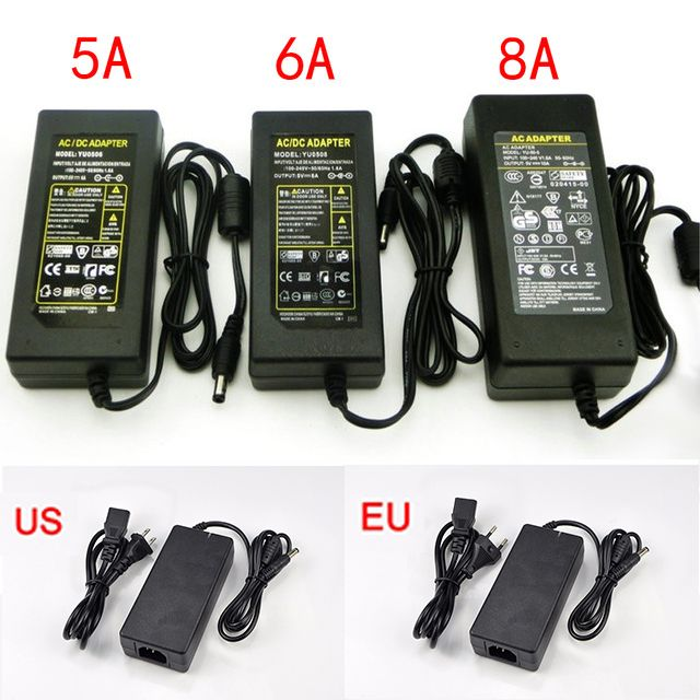 100-240V AC to DC Power Adapter 12 V 5A 6A 8A 110V 220V to 12V DC Supply Adapter Power Switching Charge For LED Strip light Lamp