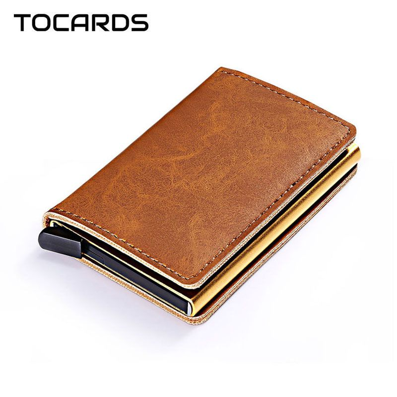 RFID Blocking Vintage Automatic Leather Credit Card Holder Men Aluminum Alloy Metal Business ID Multifunction Cardholder Wallet