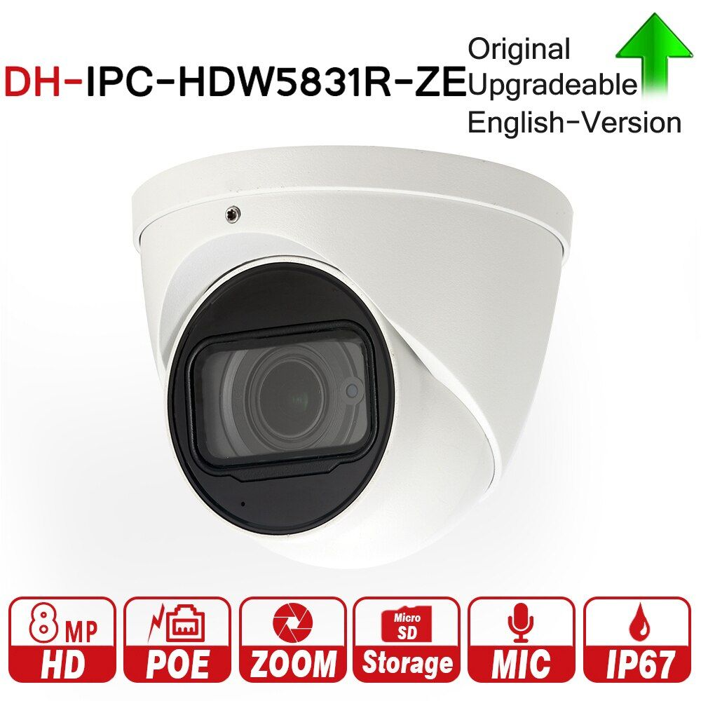 DH IPC-HDW5831R-ZE with logo 8MP WDR Eyeball Network Camera 2.7-12mm Motorized Lens Built-in Mic Micro SD Card IP67 PoE 50m ICR