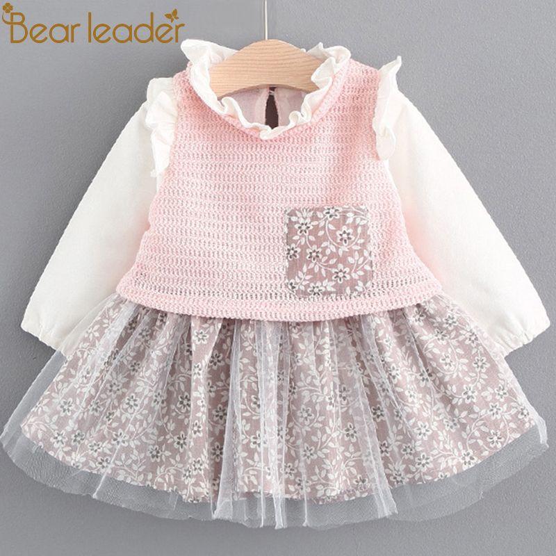 Bear Leader Girls Dress 2018 Spring Brand Baby Girls Blouse Lace Crew Neck Kids Shirts Children Clothing Dress For 6-24M