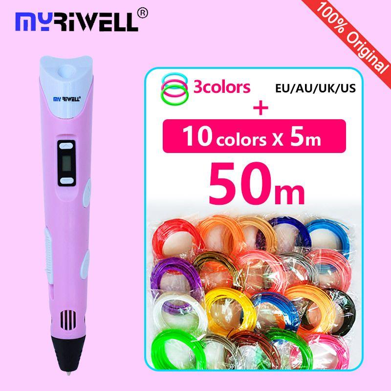 Myriwell 3d stylo 3d stylos abs 1.75mm pla filament LED affichage 3d magic pen conçu pour enfants graffiti stylo