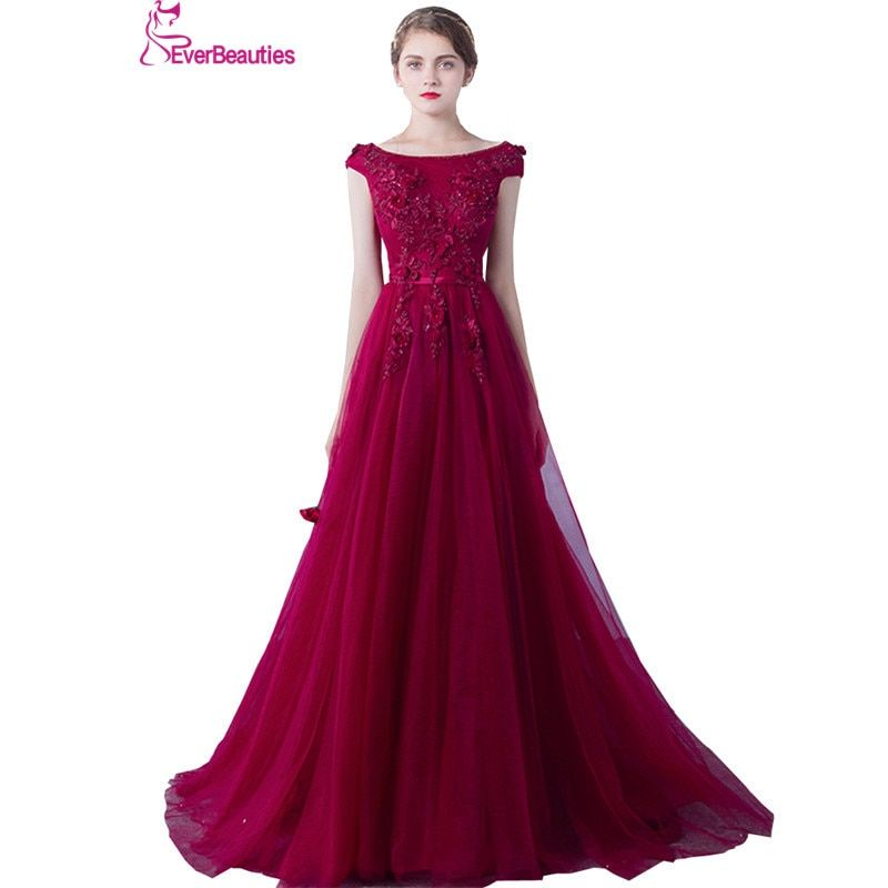 Wine Red Evening Dresses Long Women Lace Appliques Robe De Soiree Elegant Party Formal Prom Dress 2018 Abendkleider
