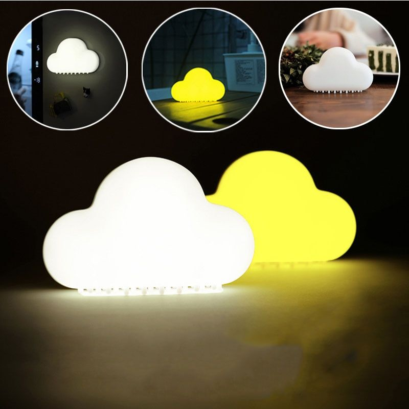 Cloud Night Light Wireless Wall Lamps LED USB Voice Sensor Lamp Novelty Children Room Decor Cute Rechargeable USB LED