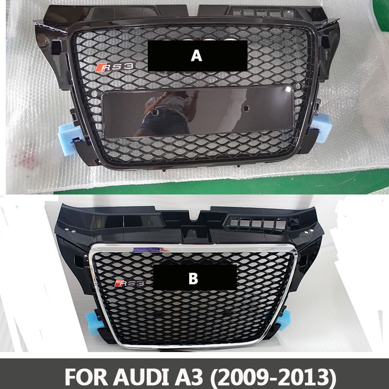 2009-2013 A3 TO RS3 style ABS chromed black front bumper grille center grill racing grills Fit for Audi A3