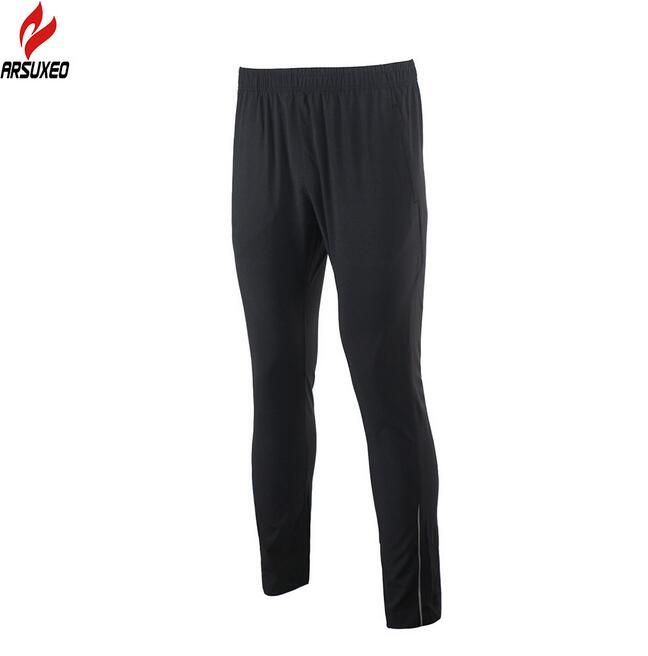 ARSUXEO Mens Sports Running Pants Training Soccer Exercise Workout GYM Pants Windproof Waterproof Quick Dry Pockets