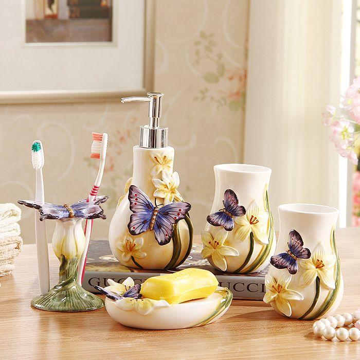 5 pcs Home decor wedding gift ceramic bathroom accessary set Wash Tool Gift Lotion Dispenser,Soap Dish,Toothbrush Holder
