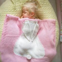 Buena calidad Kids Rabbit Knitting cama de bebé recién nacido suave edredón de cama manta juego para camas cuna bebé abrigo room73 * 105 cm