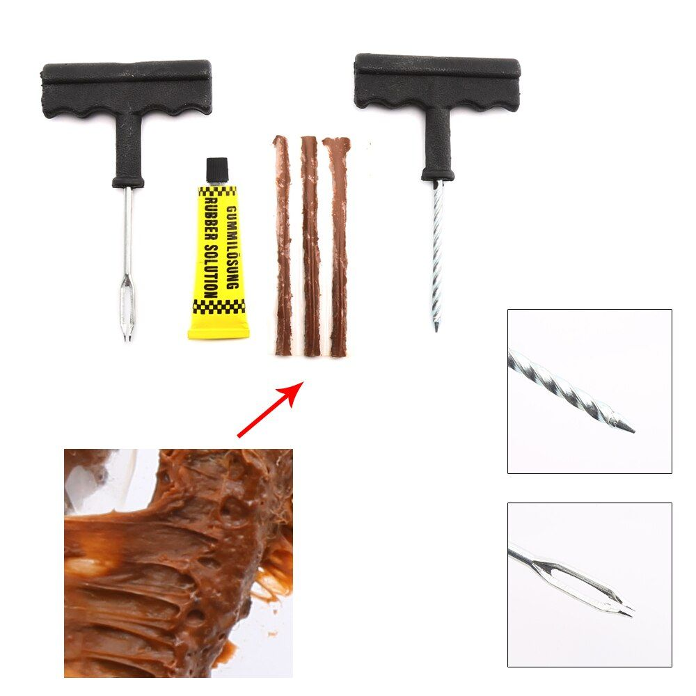 1 Set Professional Auto Car Tire Repair Kit Car Bike Auto Tubeless Tire Tyre Puncture Plug Repair Tool Kit Tool Car Accessories