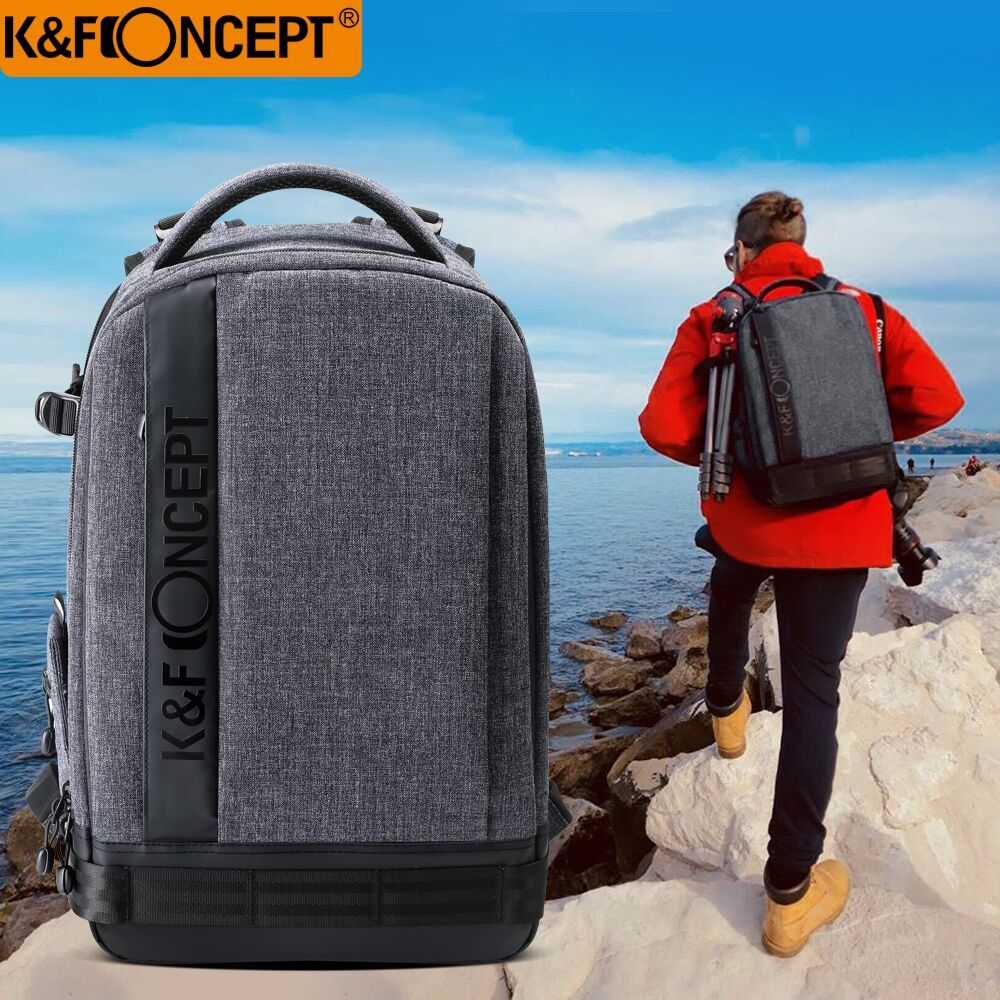 K & F CONCEPT sac à dos étanche en Nylon pour appareil photo (L) grand format 1 appareil photo + 6 lentilles avec sangles réglables pour Canon Nikon Sony DSLR
