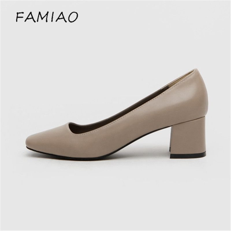 FAMIAO New Women Kitten Heels Basic High Heels Office Pumps Thick Heels Round Toe Lady Shoes Heeled 5cm 2017 women pumps