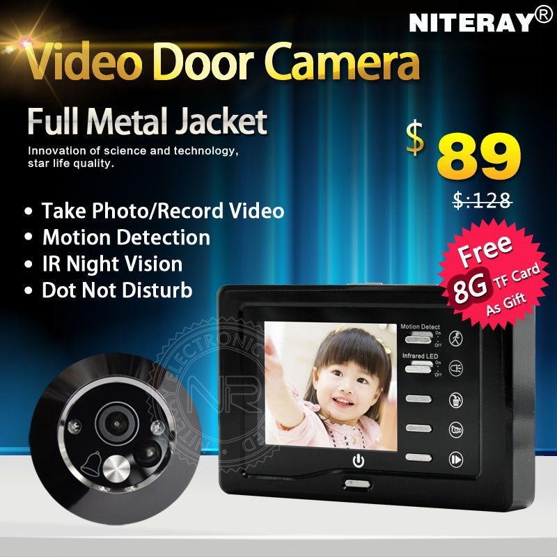 Hot Sales!! Motion <font><b>Detect</b></font> Front Door Camera Video Peephole Door Viewer Door Bell Take Photo/Video With IR Night Vision
