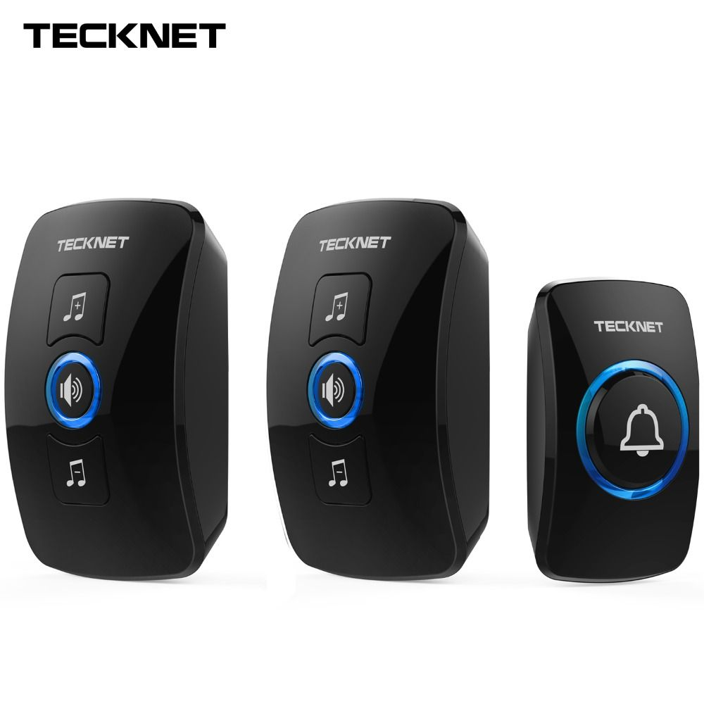 TeckNet Wireless Doorbell Remote IP33 Waterproof Cordless Door Bell Chime Kit with LED Light Operating 250M Range with 32 Chimes