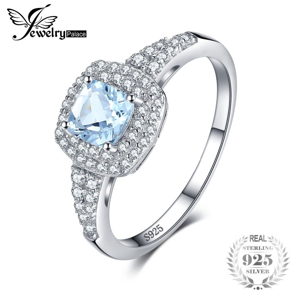 JewelryPalace Cushion Cut 0.9ct Natural Aquamarine Halo Engagement Ring 925 Sterling Silver Jewelry Engagement Rings For Women