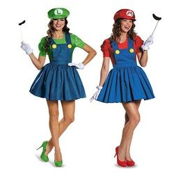 Halloween Super Mario Luigi Bros Costume Femmes Sexy Robe Plombier Costume Adulte Mario Bros Cosplay Costume Fantaisie Robe