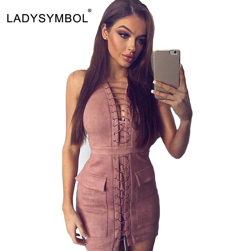 Ladysymbol faux suede lace up dress mujeres casual invierno bodycon dress sexy pink elegante autmun short party mini vestidos