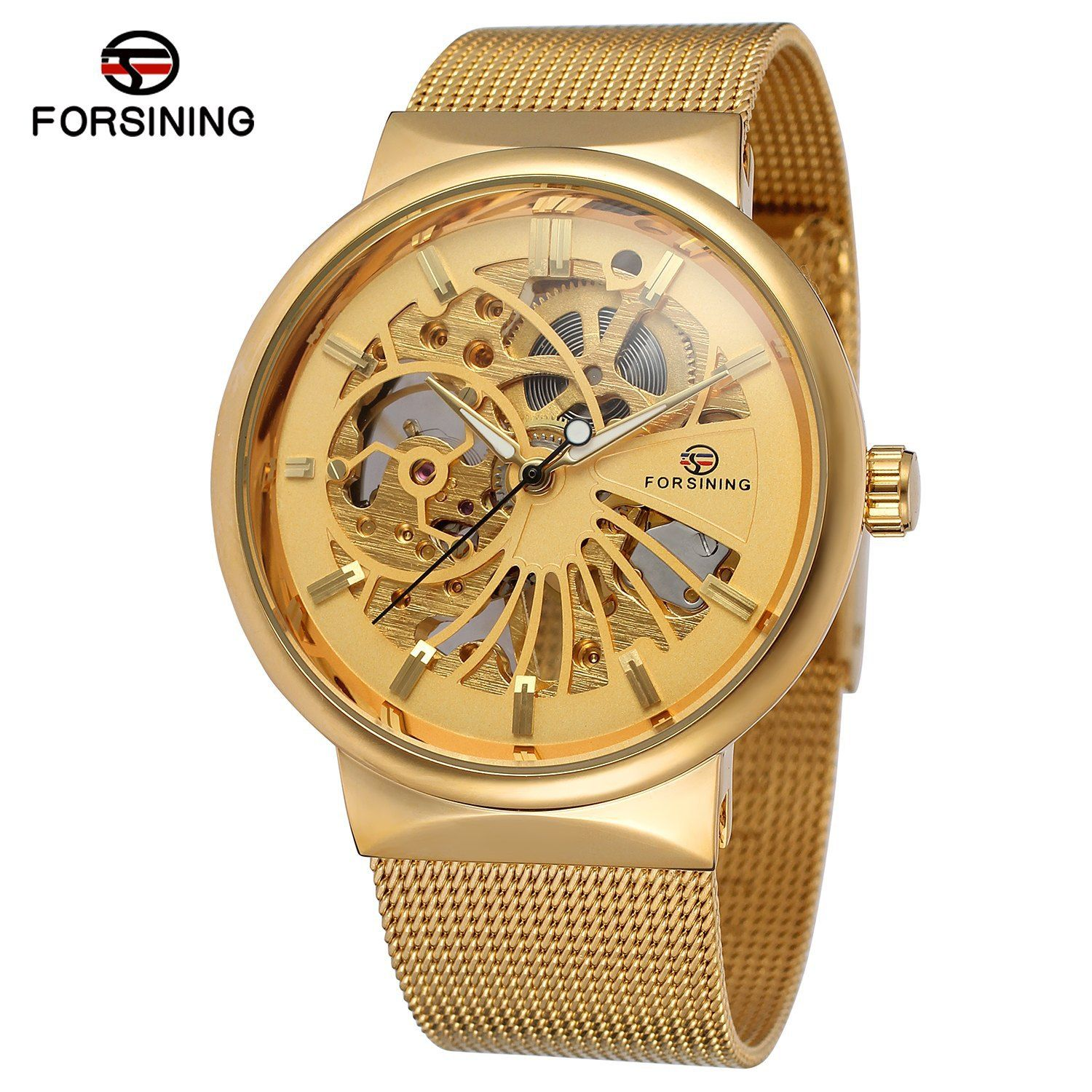 Fashion Forsining Top Brand Luxury Golden Watches Men's Automatic Mechanical Movement Mesh Strap Ultra Thin Stainless Steel Band
