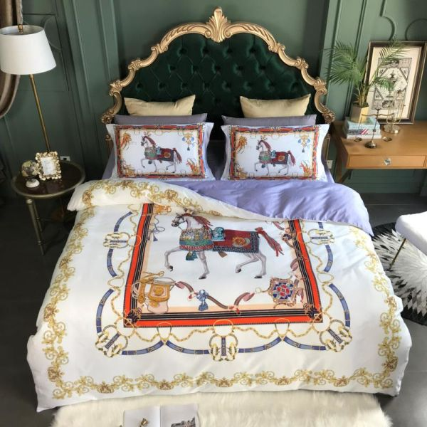High-end luxury royal europe french italy design costly exclusive horse print brand king queen size white blue pink bedding set