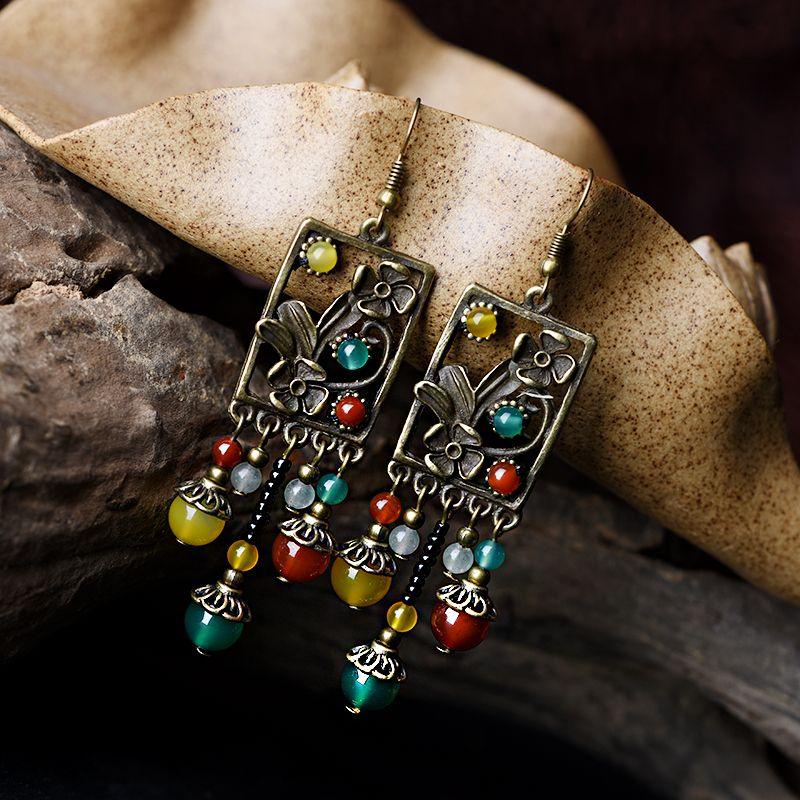 Boucles d'oreilles longues pendantes ethniques pour femmes couleur pierre aventurine cuivre fleur goutte vert jaune perles crochet bijoux vintage