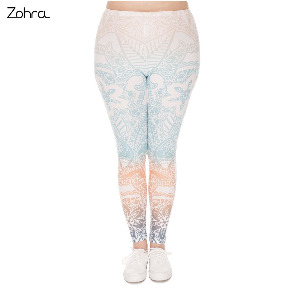 Zohra Hot Sales Large Size Leggings Mandala Mint Printed High Waist Leggins Plus Size Trousers Stretch Pants For Plump Women