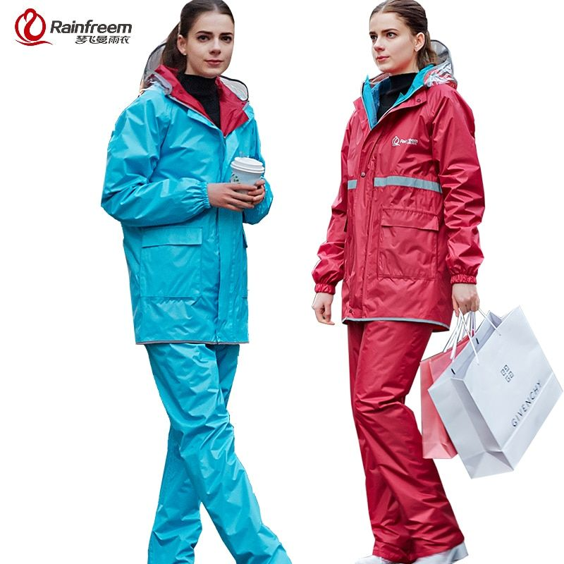 Rainfreem Reversible Impermeable Raincoat Women/Men Rain Jacket Pants Suit Motorcycle Raincoat Waterproof Poncho Rain Gear