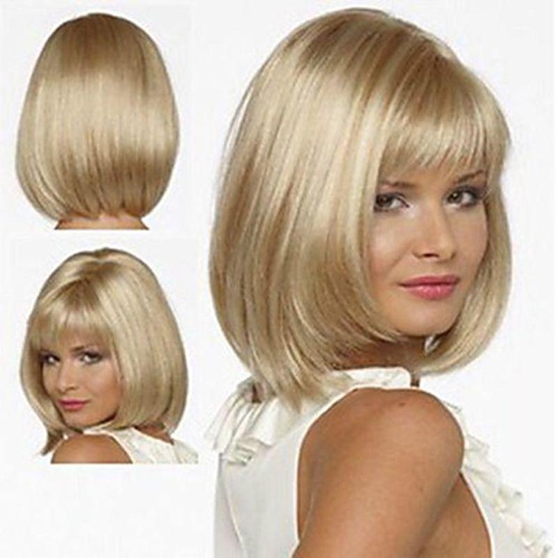 HAIRJOY Blanc Femmes Synthétique Complet Perruques Droites Courtes Bob Coiffure Blonde Faits Saillants Perruque De Cheveux Résistant À La Chaleur Livraison Gratuite