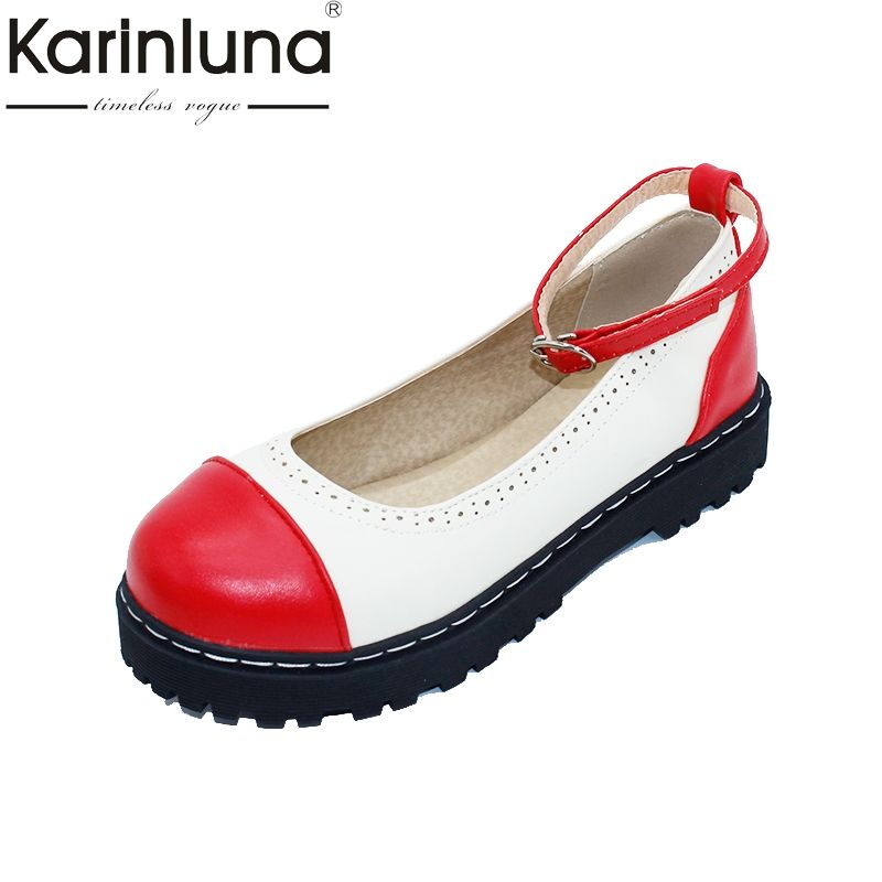 KARINLUNA New women's Ankle Strap Mixed Colors Round Toe Bowtie Shoes Woman Casual Comfortable Summer Flats Big Size 33-43