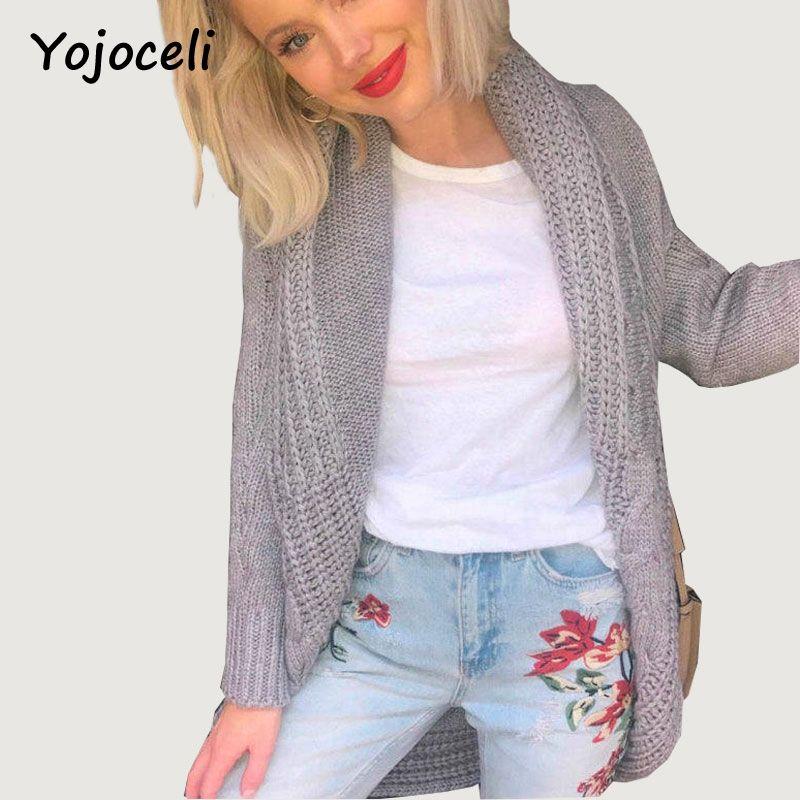 Yojoceli 2017 winter warm knitted long cardigan female Sexy cape sweater women jersey Knitting tricot shrug pull femme