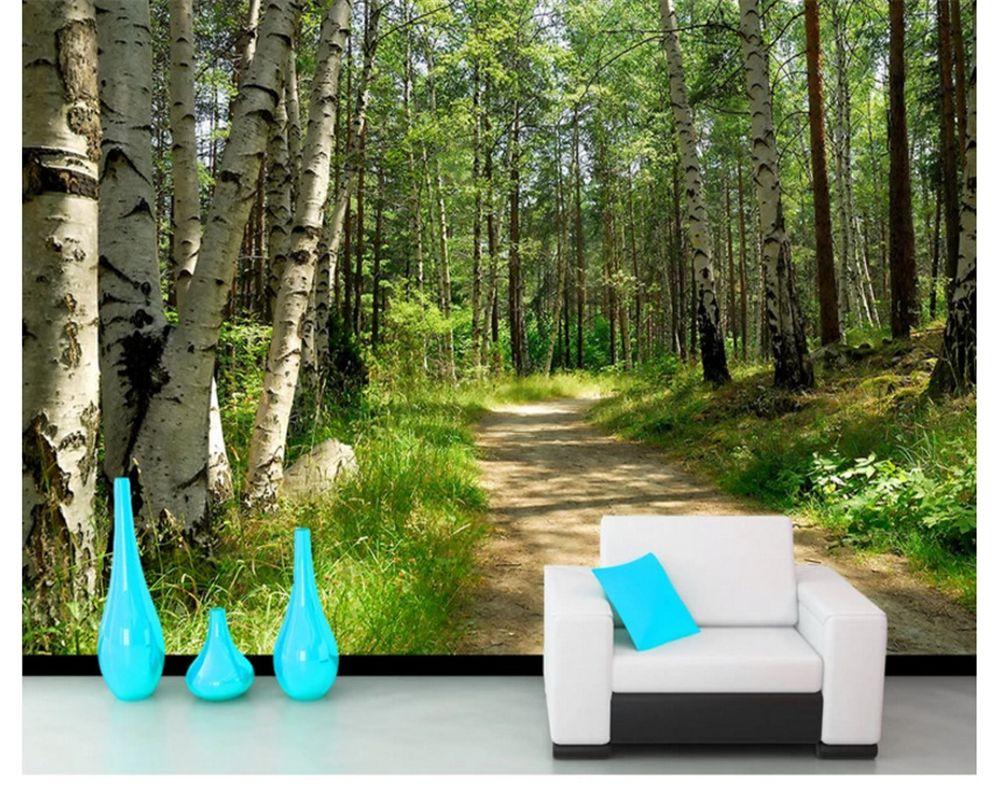 Beibehang papier peint vert forêt bouleau paysage TV fond mur papel de parede papier peint pour murs 3 d photo mural