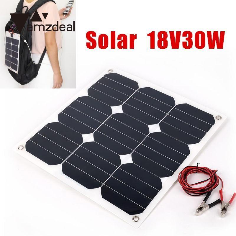 amzdeal 30W 18V Flexible Boat Caravan Car Vehicle Solar Panel For Outdoor Travelling Powerbank DIY Cell Module Charging Board