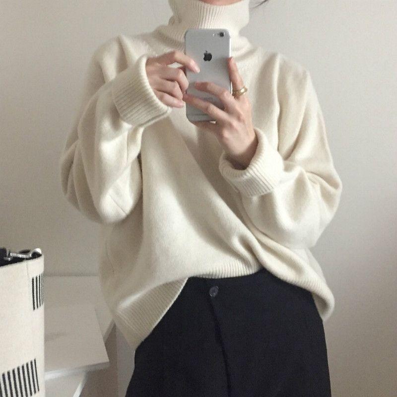 Femmes automne Hiver Pull Pull cachemire hauts tricotés col roulé élégant Slim grande taille surdimensionné Pull Femme Hiver