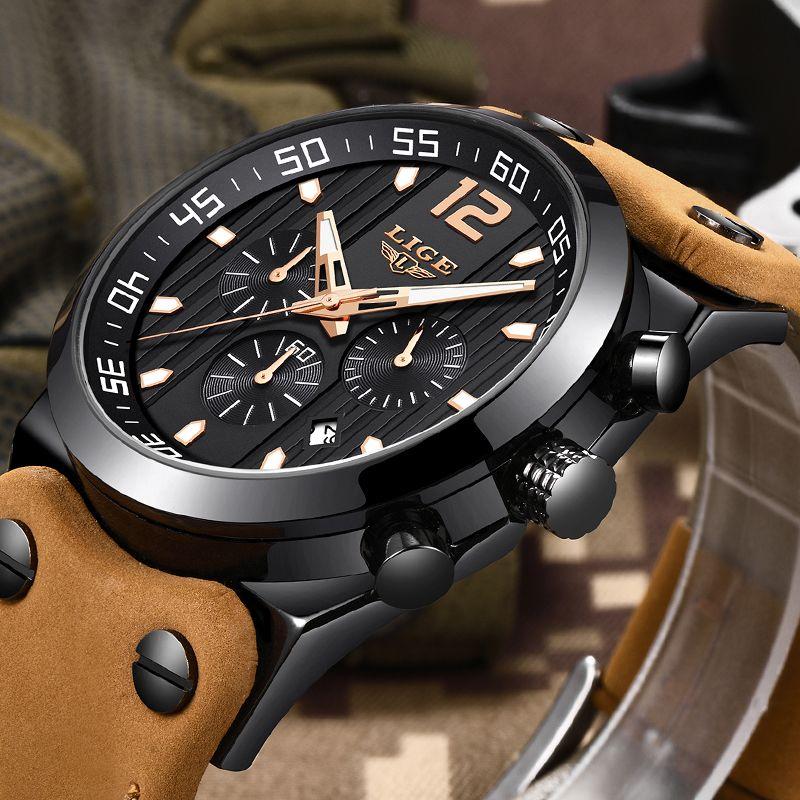 LIGE Mens Watches Top Brand Luxury Military Sport Watch Men Leather Waterproof Quartz Wrist Watch Male clock Relogio Masculino