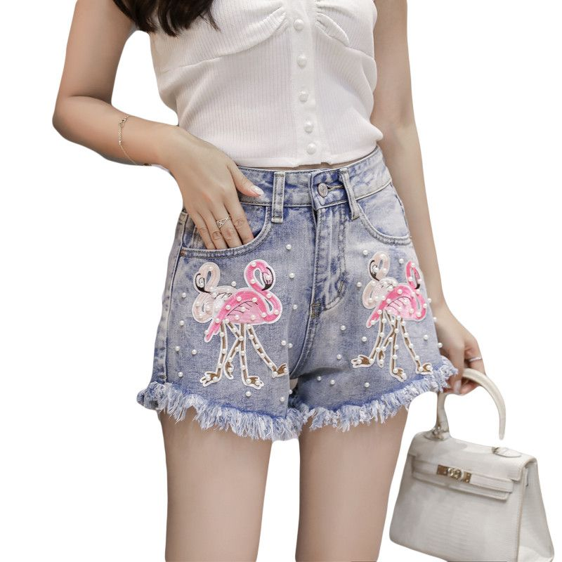 Summer 2018 Women Short Jeans Flamingos Cartoon Embroidered Flare Denim Shorts Fashion High Waisted Sexy Sequin Jeans Shorts