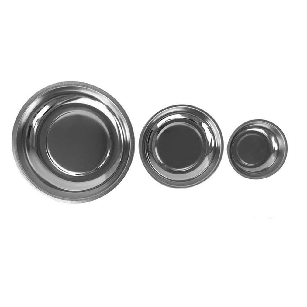 Dropshipping Circle Stainless Steel Magnetic Parts Bowl Tool Tray Nuts Bolts Screws Part Tray Magnetic Parts Plate Silver 2017
