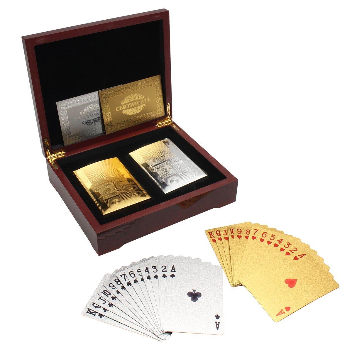 Новое поступление Карточные игры с коричневым коллекция покер деревянный ящик set Золото и серебро Цвета Best подарочный набор для карты плеер
