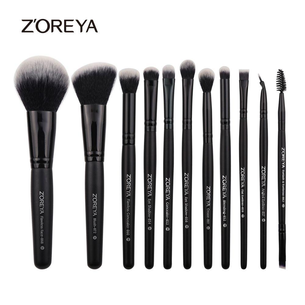ZOREYA 11 pcs Professionnel Maquillage Brosses Manche En Bois Blush Pour Le Maquillage Des Yeux Brosses Eyeliner Cosmétique Make Up Brush Maquiagem